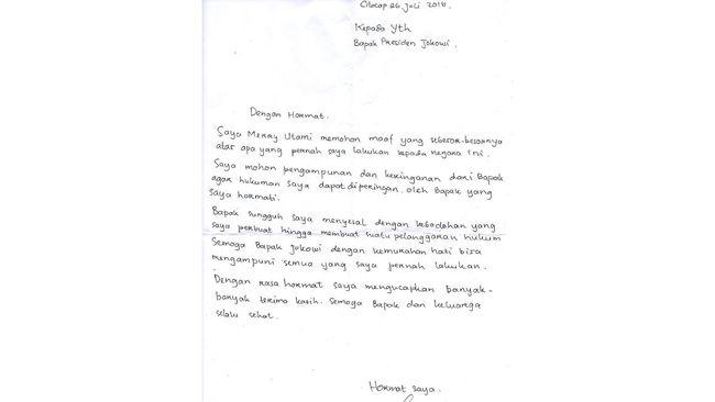 Mohon Ampun, Terpidana Mati Merry Utami Tulis Surat ke Jokowi
