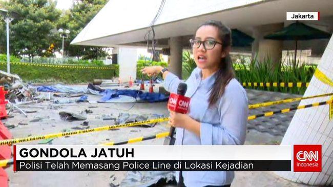 CNN Indonesia Detail: Gondola Gedung Intiland Jatuh, 1 Orang Tewas