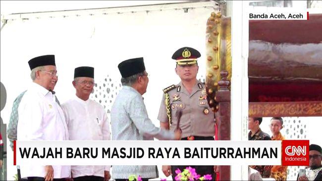 CNN Indonesia Detail: Wapres JK Resmikan Wajah Baru Masjid Baiturrahman Aceh