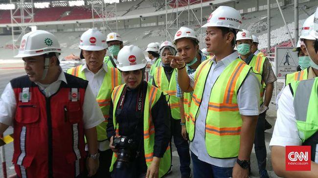 Presiden Stadion GBK Belum Sepenuhya - Jakarta CNN Indonesia Indonesia Asian Para Games Organizing Committee Raja Sapta Senin meninjau yang bakal dipergunakan di ajang