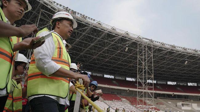 Menpora Senang Proses Renovasi SUGBK - Jakarta CNN Indonesia Pemuda dan Olahraga Republik Indonesia Imam merasa senang karena renovasi Stadion Utama Gelora Bung Karno